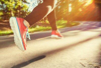 Obraz Kobieta jogging biegacz dół ścieżka zewnątrz
