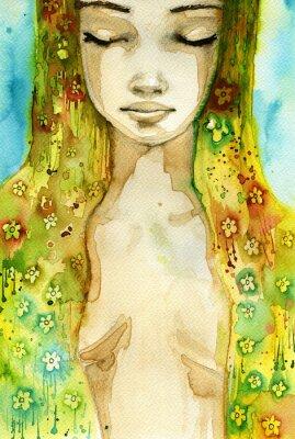 Obraz kobieta kwiat