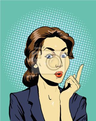 Kobieta myślenia. Ilustracja wektora w stylu retro pop sztuki komiksu w stylu