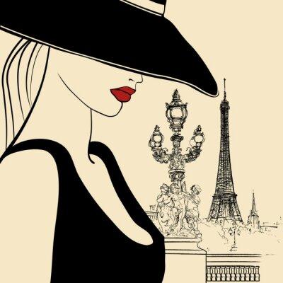 Obraz Kobieta na moście Aleksandra III w Paryżu