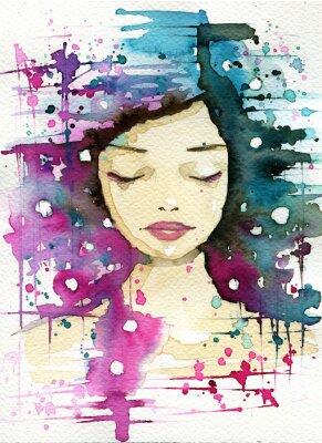 Obraz kobieta, różowym i niebieskim