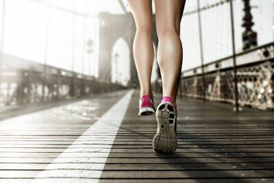 Obraz Kobieta Runner na Brooklyn Bridge, Nowy Jork