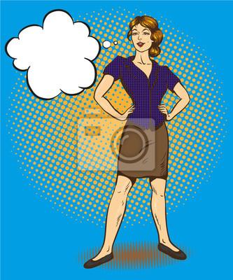 Kobieta stojąca w pozycji pewni komiks retro pop sztuki ilustracji wektorowych.
