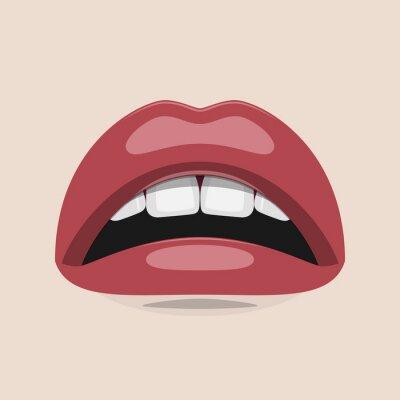 Obraz Kobieta usta, białe zęby i czerwone usta