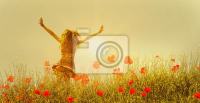 Obraz Kobieta w polu maku