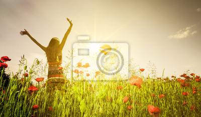 Obraz Kobieta w wiosna łąka