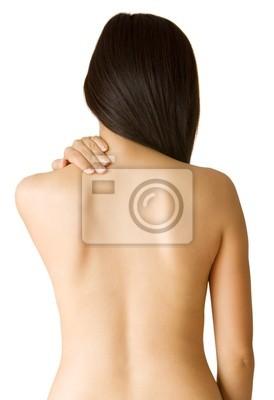 Kobieta z bólem pleców od tyłu