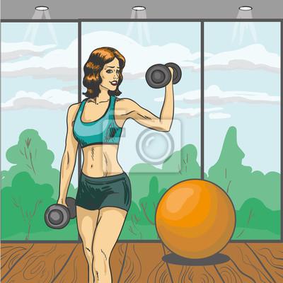 Kobieta z ilustracji wektorowych w sztangi retro stylu pop. Sport fitness koncepcji komiks plakatu. Dziewczyna szczupłe ciało w siłowni
