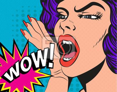 Kobieta z wow znak. Ilustracja wektora w stylu pop-art.