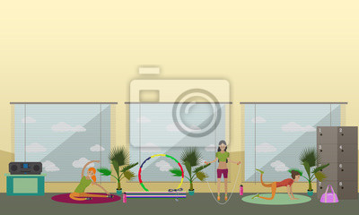 Kobiety robi ćwiczenia fizyczne i ćwiczenia jogi w centrum fitness. Wnętrze siłowni ilustracji wektorowych.