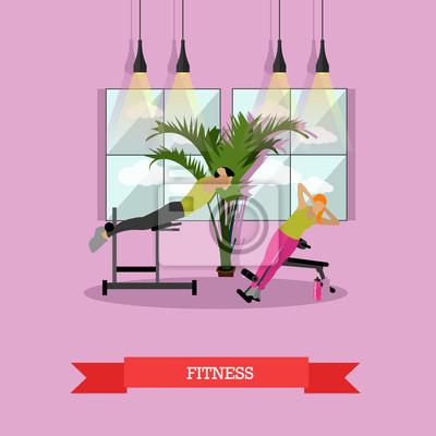Kobiety robi ćwiczenia fizyczne i ćwiczenia jogi. Wnętrze siłowni ilustracji wektorowych.