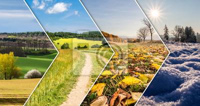 Obraz Kolaż cztery pory roku z banerów strzałek