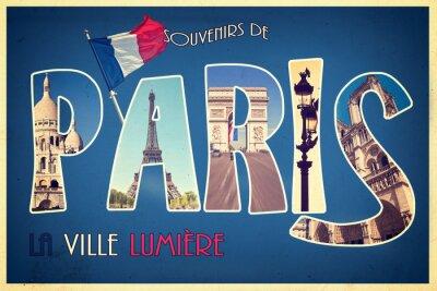Obraz Kolaż pamiątki de Paris, la ville lumiere pocztówka w stylu retro, vintage Proces