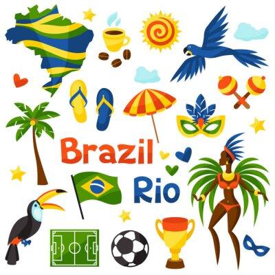 Obraz Kolekcja Brazylii stylizowane obiektów i symboli kulturowych