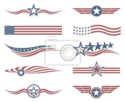 Obraz kolekcja etykiet star amerykańskiej flagi na białym tle