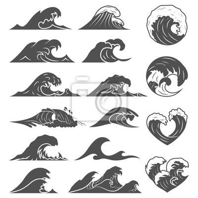 Obraz Kolekcja fal oceanu. Fala morska burza na białym tle. Fale, zestaw elementów wodnych. Natura fala wody burza liniowy styl ilustracji