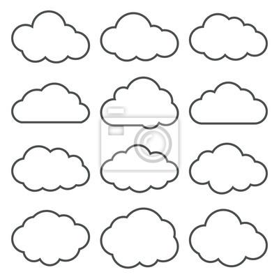 Obraz Kolekcja Kształty chmurze. Zestaw cienka linia chmurze Ikony.
