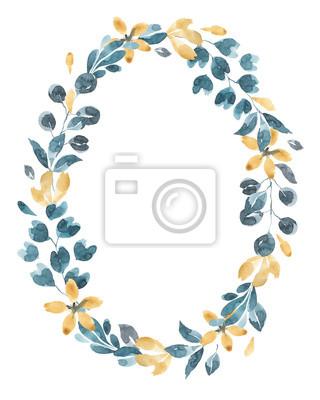 Kolekcja kwiatów. Akwarela kwiat i wieniec kwiatowy