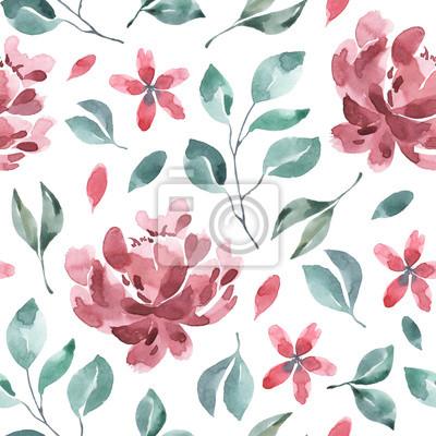 Kolekcja kwiatów. Kwiat akwarela i kwiatowy wzór # 1