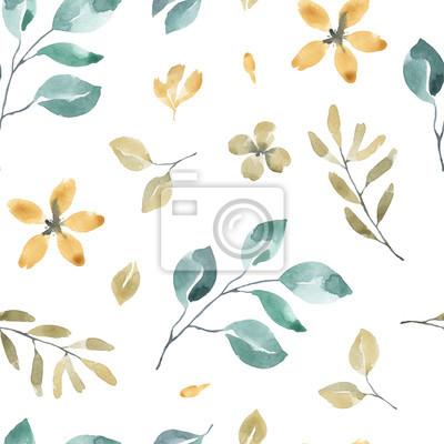 Kolekcja kwiatów. Kwiat akwarela i kwiatowy wzór # 3