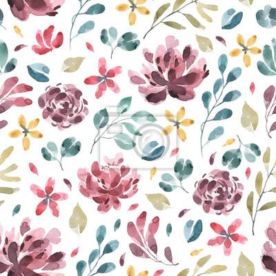 Kolekcja kwiatów. Kwiat akwarela i kwiatowy wzór