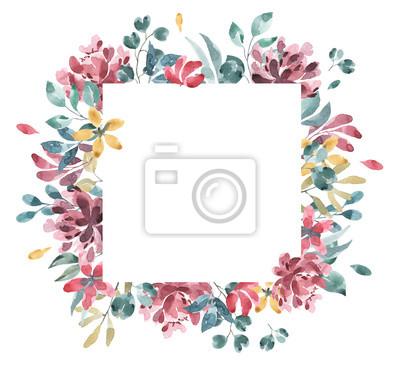 Kolekcja kwiatów. Kwiat akwarela i kwiatowy wzór geometryczny # 2