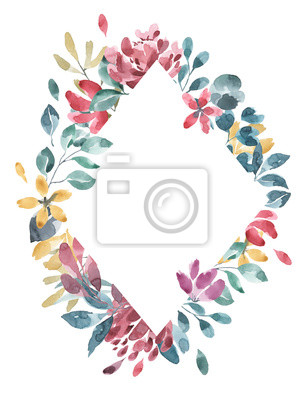 Kolekcja kwiatów. Kwiat akwarela i kwiatowy wzór geometryczny # 3