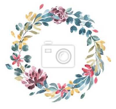 Kolekcja kwiatów. Kwiat akwarela i wieniec kwiatowy # 1