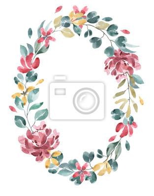 Kolekcja kwiatów. Kwiat akwarela i wieniec kwiatowy # 4