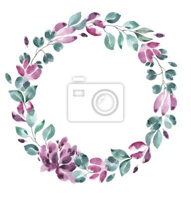 Kolekcja kwiatów. Kwiat akwarela i wieniec kwiatowy # 5