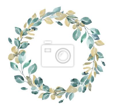 Kolekcja kwiatów. Kwiat akwarela i wieniec kwiatowy # 6
