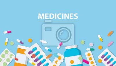 Obraz kolekcja leków narkotyków z wolnej przestrzeni banner na niebieskim tle