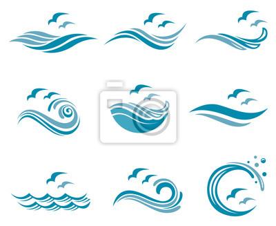 Obraz Kolekcja logo oceanu z falami i seagulls