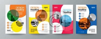 Obraz kolekcja nowoczesnego szablonu ulotki broszury plakat szablon układu okładki z elementami graficznymi koła i miejsca na tle fotografii