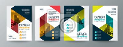 Obraz kolekcja nowoczesnego szablonu ulotki broszury plakat szablon układu okładki z trójkątnymi elementami graficznymi i miejscem na zdjęcie w tle