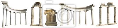 Obraz Kolekcja różnych kolumn antycznych greckich na białym tle