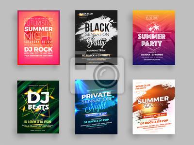 Obraz Kolekcja sześciu ulotek lub banerów na imprezę letnią ze szczegółami dotyczącymi czasu i miejsca.