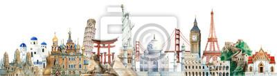 Obraz Kolekcja zabytków architektonicznych malowanych akwarelą