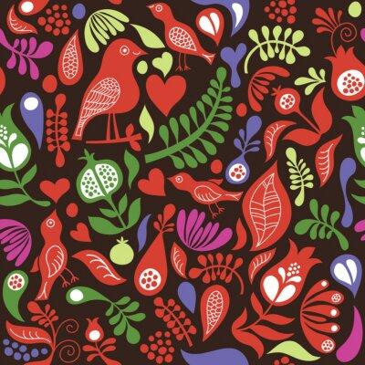 Obraz kolor szwu z elementami kwiatów