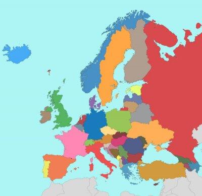 Obraz Kolorowa Mapa Europy Na Wymiar Wysoki Tlo Ilustracja