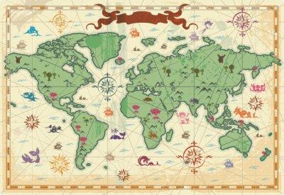 Obraz Kolorowa mapa świata starożytnego