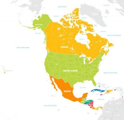Obraz Kolorowa mapa wektorowa Ameryki Północnej i Środkowej
