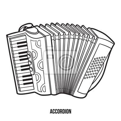 Obraz Kolorowanka Dla Dzieci Instrumenty Muzyczne Akordeon Na