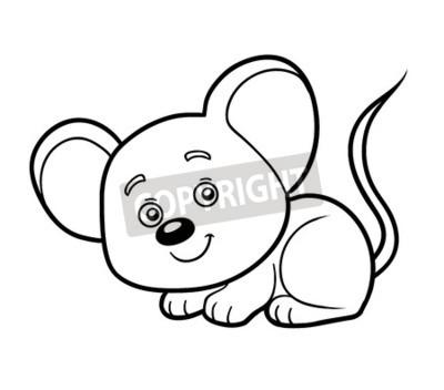 Obraz Kolorowanka Dla Dzieci Mysz Na Wymiar Czarny Mlody