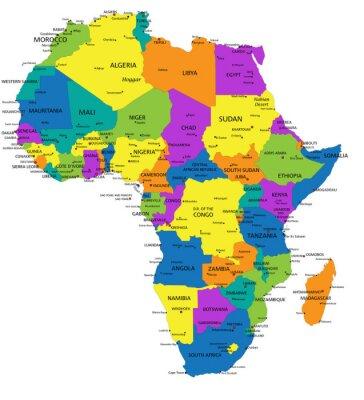 Obraz Kolorowe Afryka mapa polityczna z wyraźnie oznakowanych, oddzielnych warstwach. Ilustracji wektorowych.