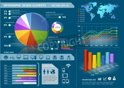 Kolorowe Infographic Elementy z mapy świata i grafika informacyjne. Ilustracji wektorowych