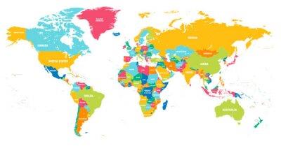 Obraz Kolorowe mapy świata wektorowe