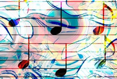 Obraz kolorowe nuty i kolor tła. koncepcja muzyki.