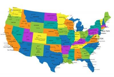 Obraz Kolorowe Stany Zjednoczone Ameryki Polityczna mapa wyraźnie oznakowanych, oddzielnych warstwach. Ilustracji wektorowych.