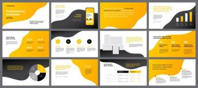 Kolorowe szablony prezentacji elementów. Infografiki wektor Wykorzystaj w prezentacji, ulotce i ulotce, raporcie korporacyjnym, marketingu, reklamie, raporcie rocznym i banerze.